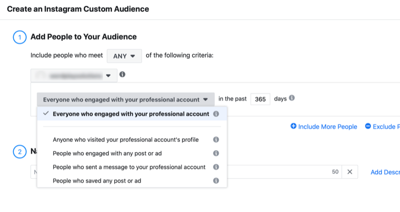 menu to create an instagram custom audience with the option to add people to your audience who engaged with your professional account with the option to set the number of days for the engagement period