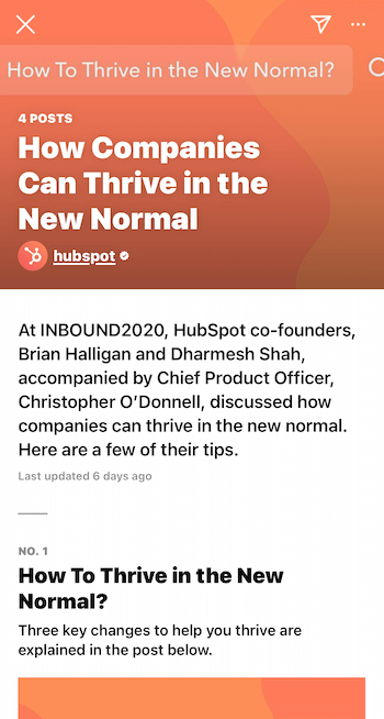 example instagram guide from hubspot titled how companies can thrive in the new normal with tips from chief company individuals delivered at the company conference
