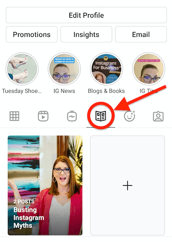 instagram profile with the newspaper looking guide icon present and highlighted, appearing next to the igtv icon