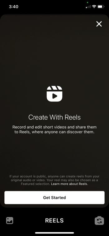 screenshot of the create reels screen on instagram