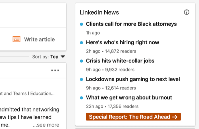 example screenshot of linkedin home page with the linkedin news section central to the image