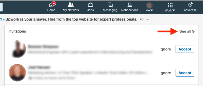 linkedin my network tab invitations page with the see all option highlighted