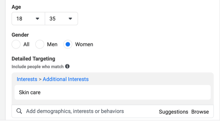 instagram new campaign audience menu with example ages, genders, and detailed targeting options