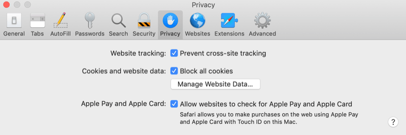 example safari preferences menu set to the privacy tab with boxes checked for 'website tracking: prevent cross-site tracking', 'cookies and website data: block all cookies', along with 'apple pay and apple card: allow websites to check for apple pay and apple card'