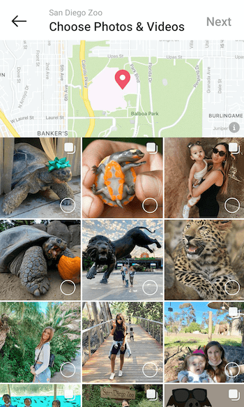 example create instagram places guide for @sandiegozoo at the option to select photo & videos with several example posts offered for selection