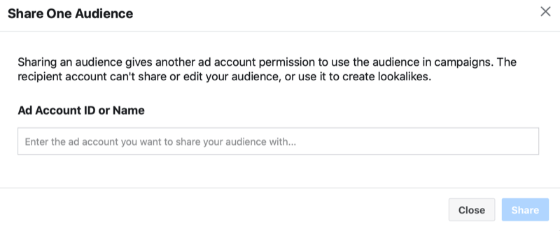 facebook ads manager share a custom audience > share one audience menu with the option to add an ad account id or name