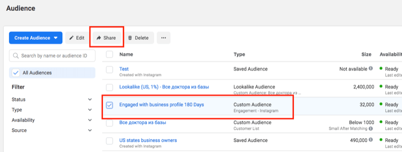 audience tab of facebook ads manager with an engagement audience highlighted along with the share button highlighted at the top of the navigation bar