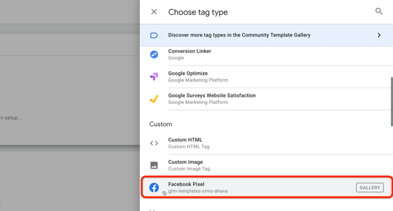 example google tag manager new tag with the choose tag type menu and the facebook pixel option highlighted under the custom section