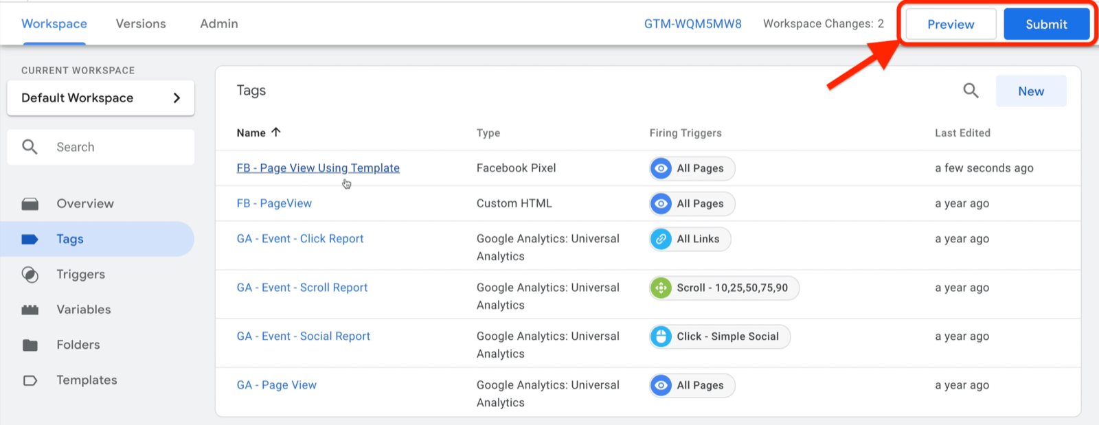 example google tag manager dashboard workspace with tags selected and several example tags shown with preview and submit buttons highlighted on the top right