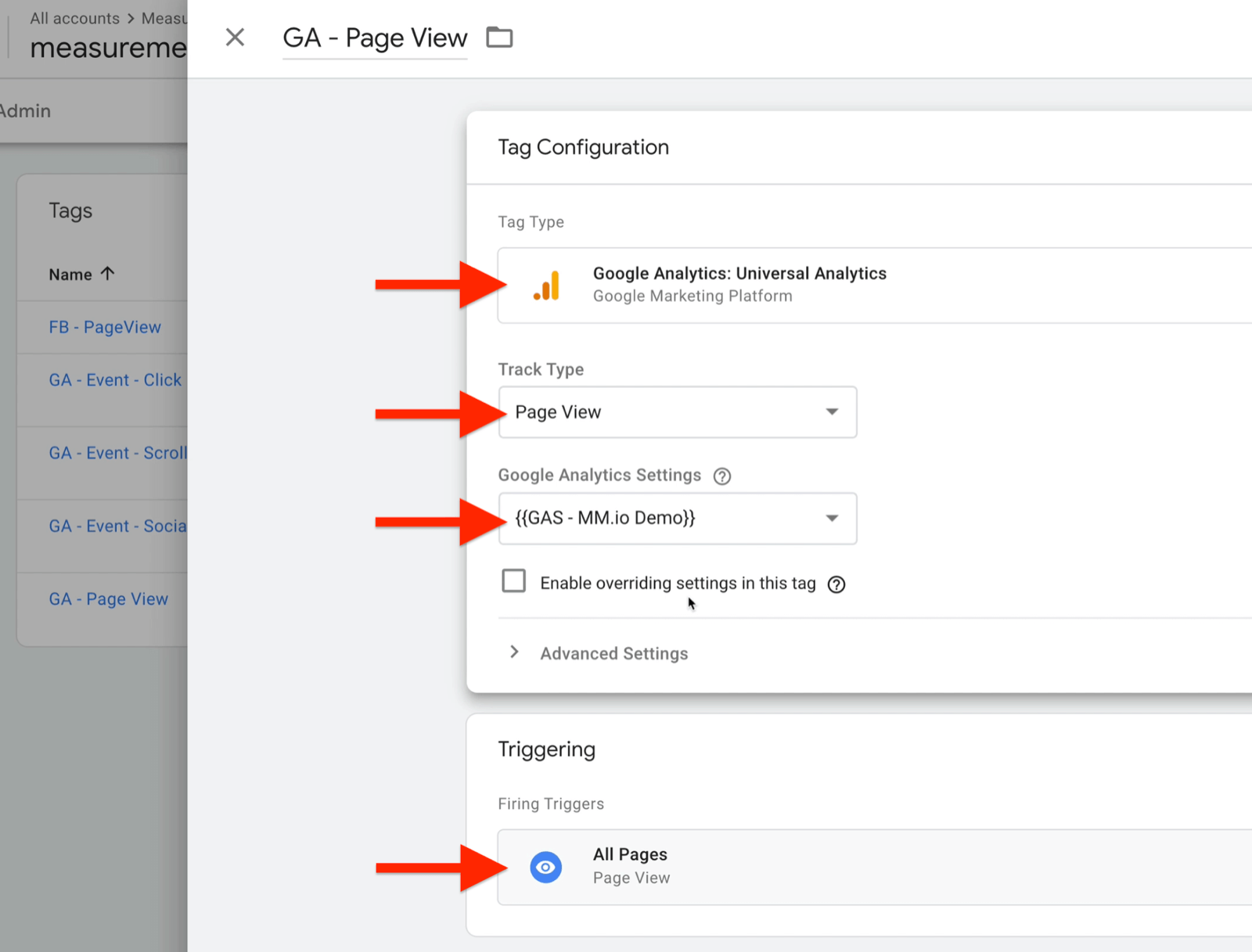 example google tag manager tag configuration called ga - page view with tag type set to google analytics: universal analytics, track type as page view, google analytics settings as {{gas - mm.io demo}}, with firing triggers set to all pages