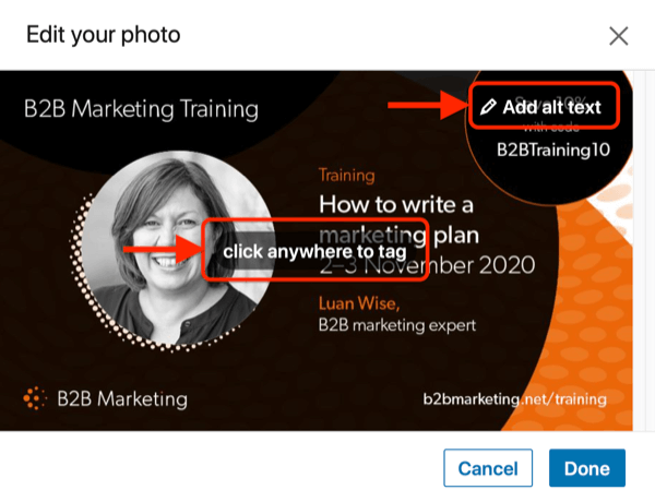 example linkedin edit your photo post highlighting the options to click anywhere to tag and add alt text
