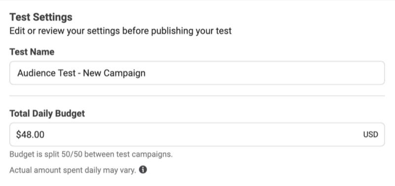 Facebook-Anzeigen testen das Tagesbudget