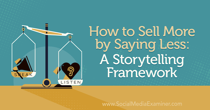How to Sell More by Saying Less: A Storytelling Framework featuring insights from Park Howell on the Social Media Marketing Podcast.